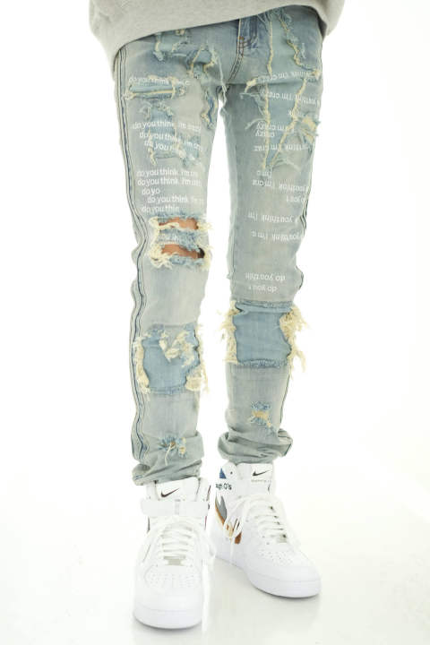 Do You Think I'm Crazy White Embroidered Jeans /ドウ ユウ シィンク アイム クレイジー ホワイト エンブロイディド ジーンズ Detail限定ホワイト