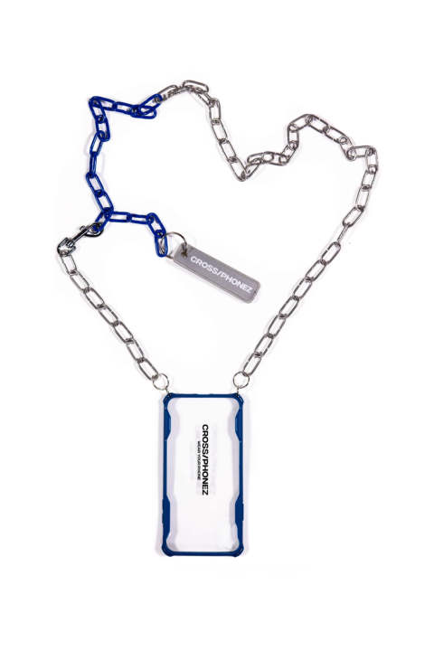 Crossphone Silver And Dark Blue Chain Chase Iphone Cover XS