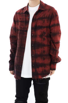 Bleached Flannel Shirt Red